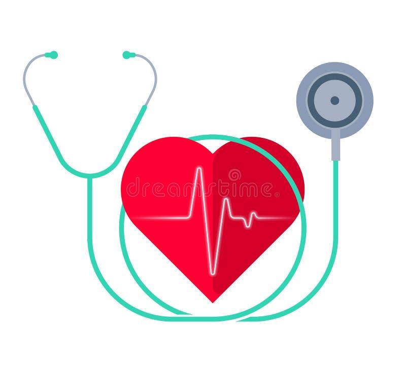 Lo stetoscopio e un cuore con l'impulso Medicina e salute illustrazione vettoriale