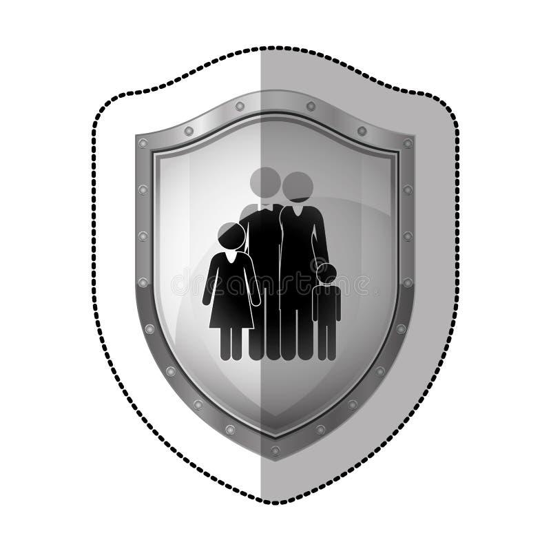 lo sticler ha punteggiato lo schermo metallico con la siluetta nera del nucleo familiare royalty illustrazione gratis