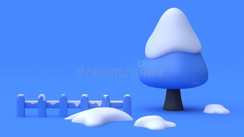 Lo stile blu 3d minimo del fumetto dell'estratto del recinto della neve dell'albero del fondo di scena blu rende il concetto dell royalty illustrazione gratis