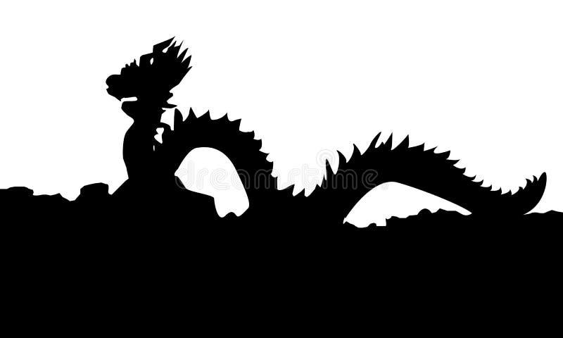 Lo stile cinese Dragon Statue Vector Silhouette royalty illustrazione gratis
