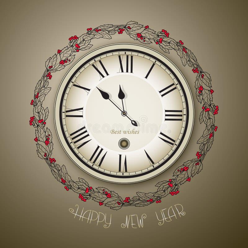 Lo stile d'annata dell'orologio per il nuovo anno ed il natale progettano illustrazione di stock