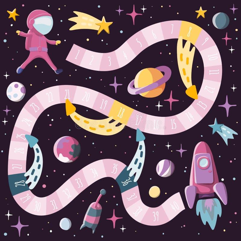 Lo stile del fumetto scherza il gioco da tavolo dello spazio e di scienza con l'astronauta, il razzo, i planents, sputnik progett illustrazione vettoriale