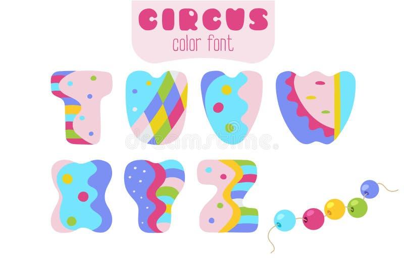 Lo stile del fumetto segna T, U, la V, W, la X, Y, la Z e le perle con lettere dell'imbracatura illustrazione di stock