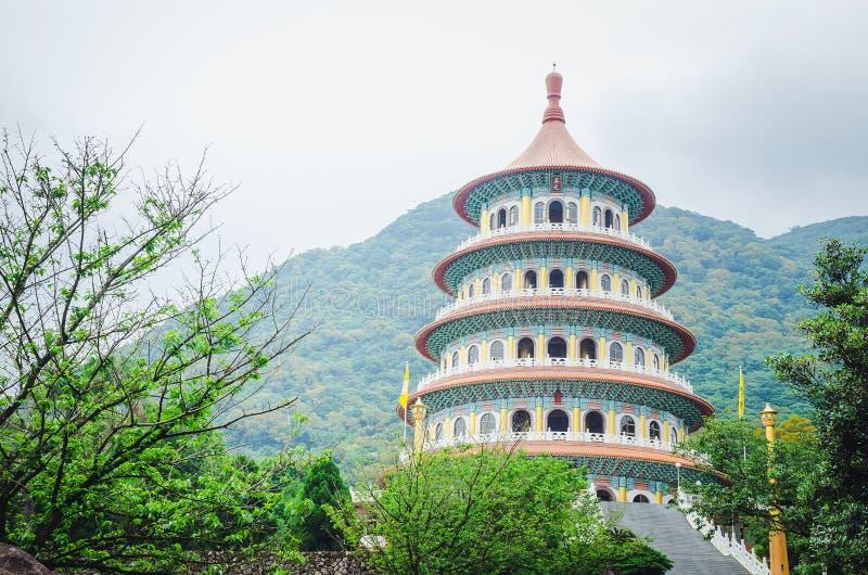 Lo stile dell'eleganza del cinese tradizionale è tempio Tien-Yuan Temple di Wuji Tianyuan nella nuova città di Taipei, Taiwan fotografia stock libera da diritti