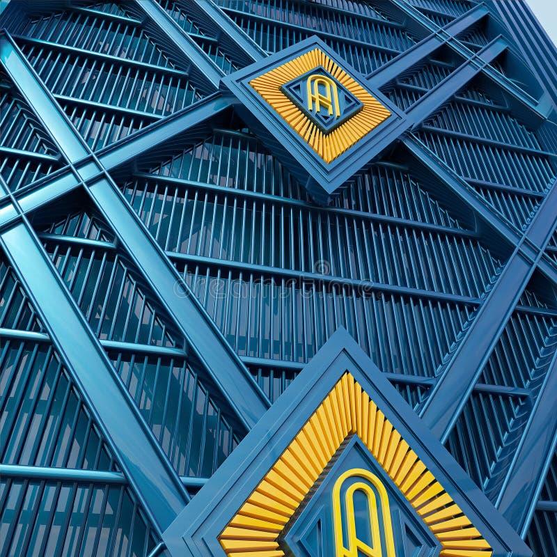 Lo stile di art deco della parete fatto del fondo metallico blu e giallo della pittura rende illustrazione di stock