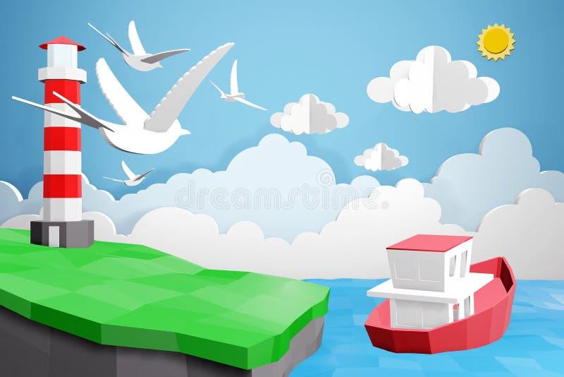 Lo stile di carta di arte del faro e della barca sta navigando nel mare nell'ambito della luce solare, 3D che rende la progettazi royalty illustrazione gratis