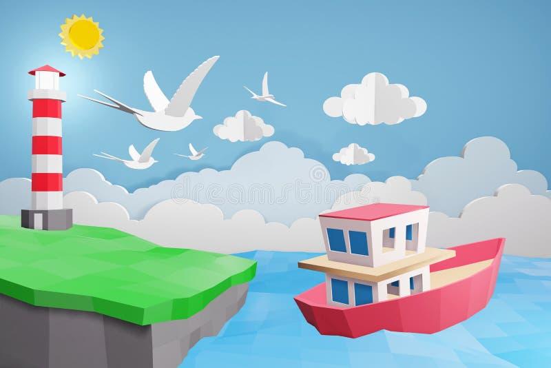 Lo stile di carta di arte del faro e della barca sta navigando nel mare nell'ambito della luce solare, 3D che rende la progettazi illustrazione vettoriale