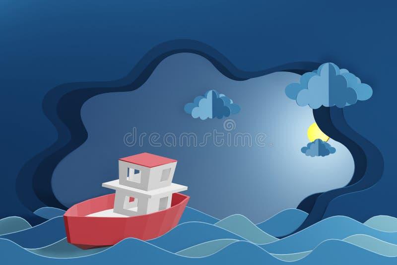 Lo stile di carta di arte della barca sta navigando nel mare nell'ambito della luce di luna, 3D che rende la progettazione royalty illustrazione gratis