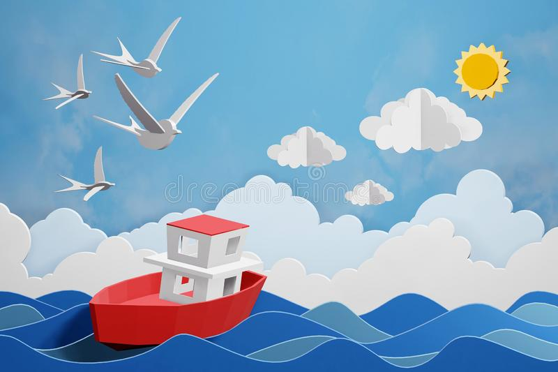 Lo stile di carta di arte della barca sta navigando nel mare nell'ambito della luce solare, 3D che rende la progettazione illustrazione di stock