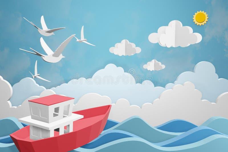 Lo stile di carta di arte della barca sta navigando nel mare nell'ambito della luce solare, 3D che rende la progettazione illustrazione vettoriale