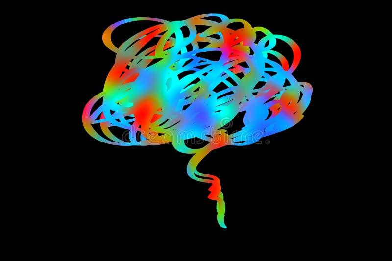 Lo stile di concetto di potenza della mente su fondo scuro illustrazione vettoriale