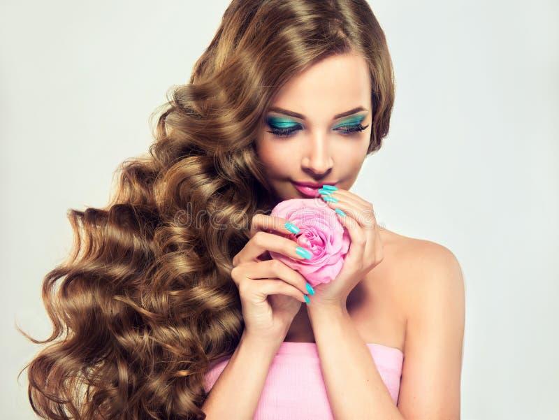 Lo stile di lusso di modo, unghie manicure, cosmetici e trucco fotografia stock
