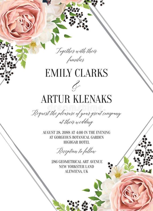 Lo stile floreale dell'acquerello di nozze invita, invito, conserva il dat illustrazione di stock