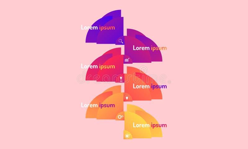 Lo stile infographic di progettazione moderna dei dati elementari dell'estratto con il grafico del markpoint pensa le icone dell' illustrazione vettoriale