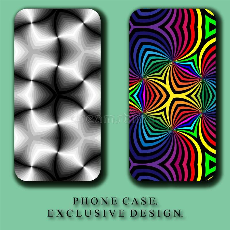 Lo stile Mobil telefona il caso Bello arcobaleno e modelli astratti monocromatici delle curve illustrazione vettoriale