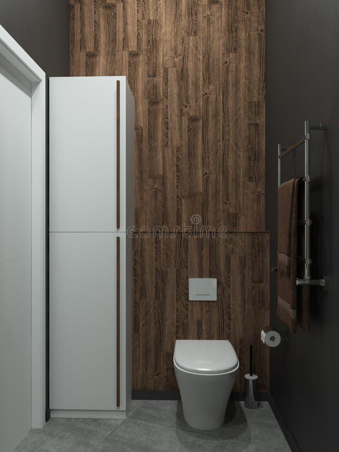 Lo stile moderno del sottotetto del bagno, 3D rende fotografie stock libere da diritti