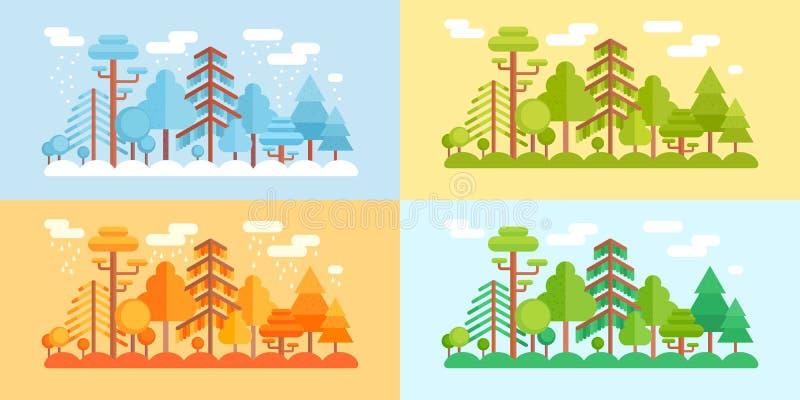 Lo stile piano Forest Scenery, quattro ha stilizzato le stagioni royalty illustrazione gratis