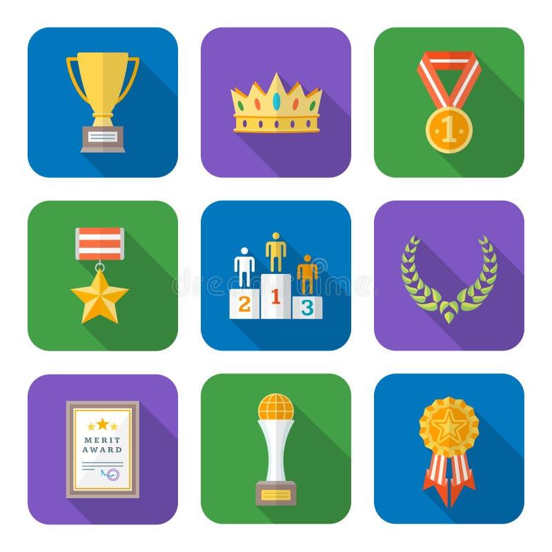 Lo stile piano ha colorato la varia raccolta delle icone di simboli dei premi royalty illustrazione gratis