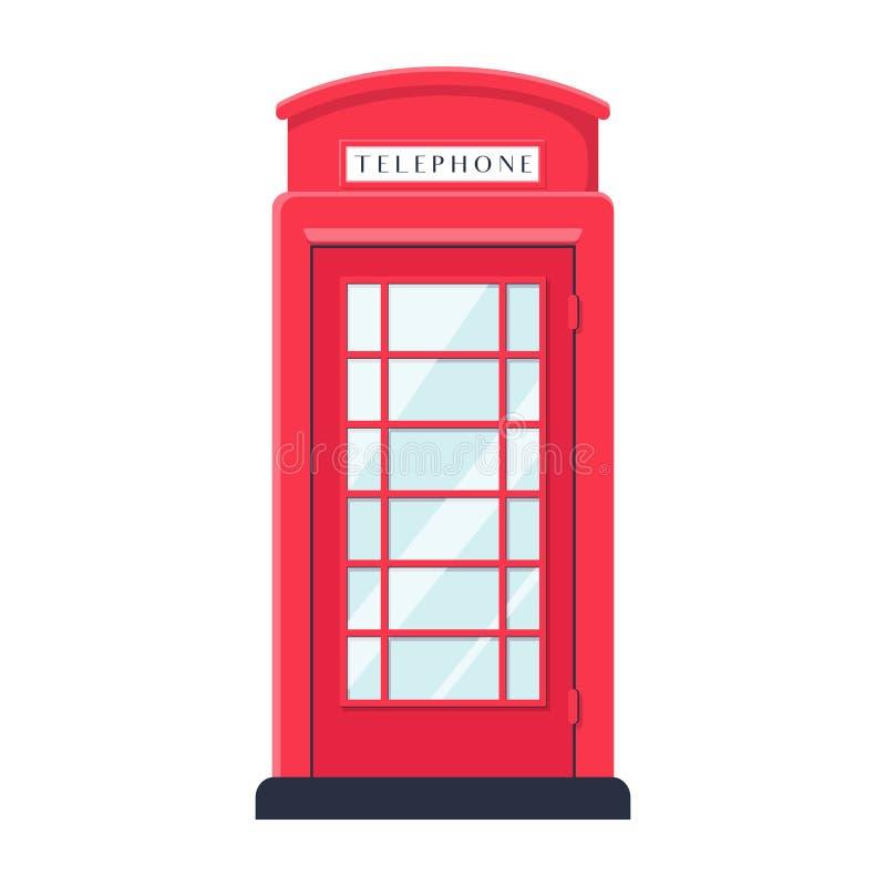 Lo stile piano realistico ha dettagliato la cabina telefonica rossa della via di Londra isolata su fondo bianco illustrazione di stock