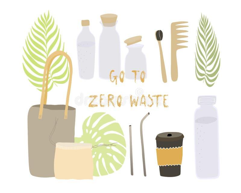 Lo stile residuo zero di Eco di vita nessuna plastica va cose riutilizzabili verdi Oggetti di vettore messi illustrazione vettoriale