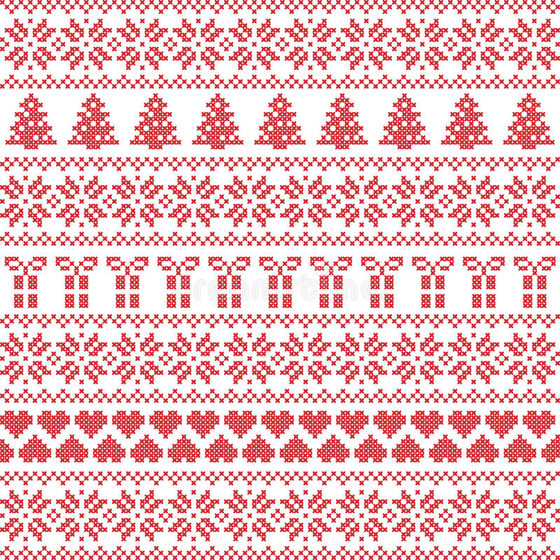Lo stile scandinavo, punto nordico del maglione dell'inverno, tricotta il modello illustrazione vettoriale