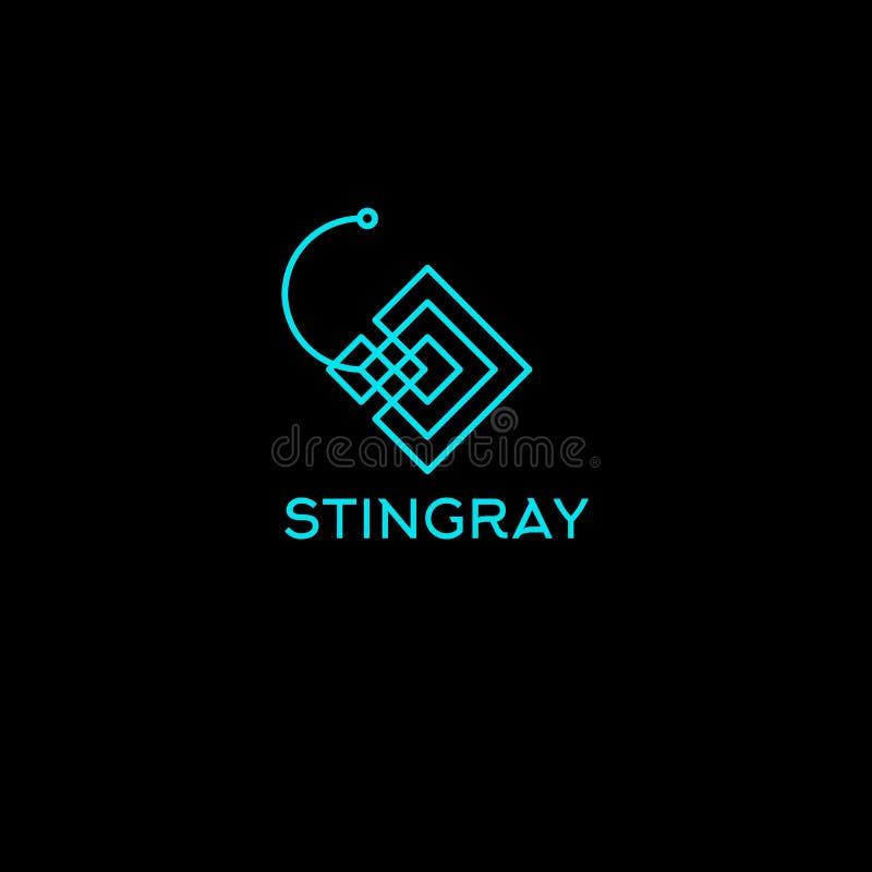 Lo stingray allinea il logo Emblema del club di immersione subacquea Simbolo stilizzato lineare di stingray illustrazione di stock