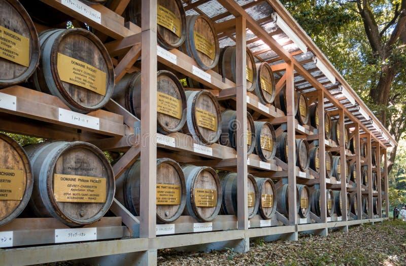 Lo stoccaggio di legno dei barilotti di vino nel parco di Meiji Shrine fotografia stock libera da diritti