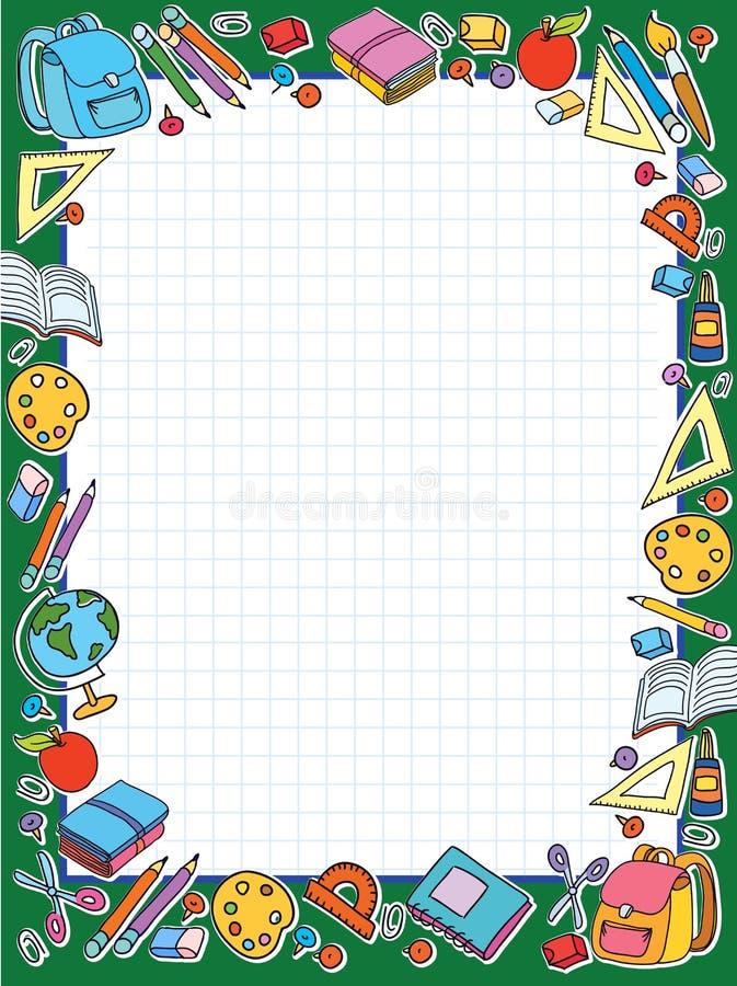 Lo strato delle cellule dell'insegna in gabbia con l'insieme delle cose differenti della scuola vector la mela della borsa illustrazione vettoriale