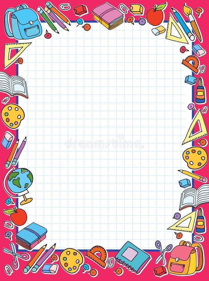 Lo strato delle cellule dell'insegna in gabbia con l'insieme delle cose differenti della scuola vector la mela della borsa royalty illustrazione gratis