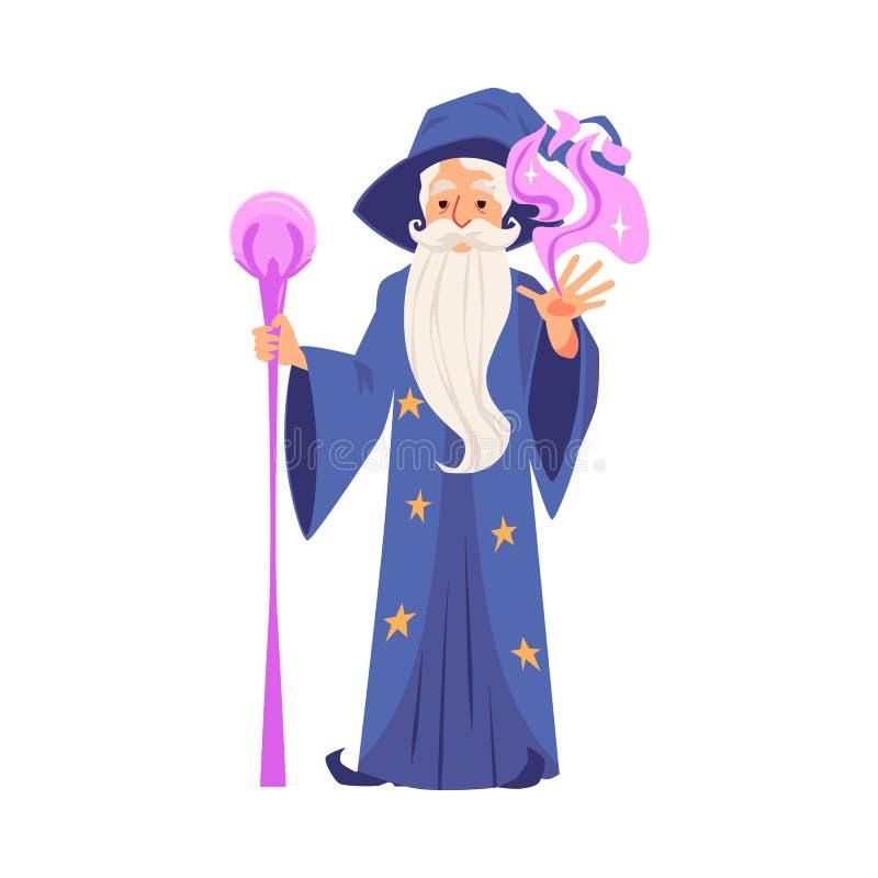 Lo stregone o il mago crea l'illustrazione piana magica di vettore isolata su bianco illustrazione vettoriale