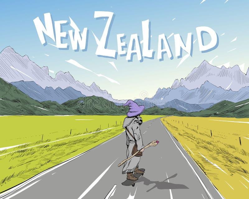 Lo stregone sta guidando sul pattino sulla strada fra le montagne In qualche luogo in Nuova Zelanda Bello paesaggio illustrazione di stock