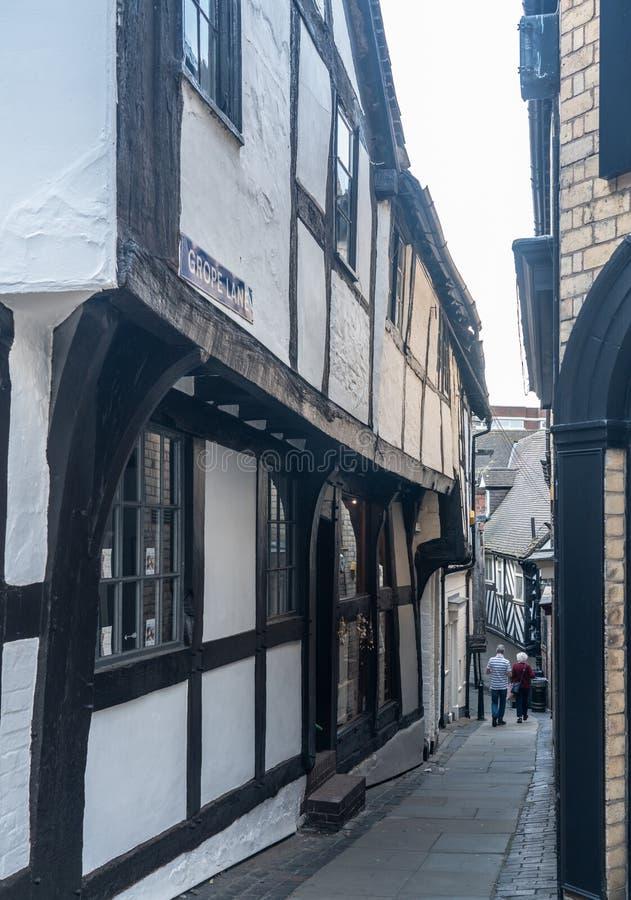 Lo stretto brancola il vicolo in Shrewsbury, Shropshire fotografia stock