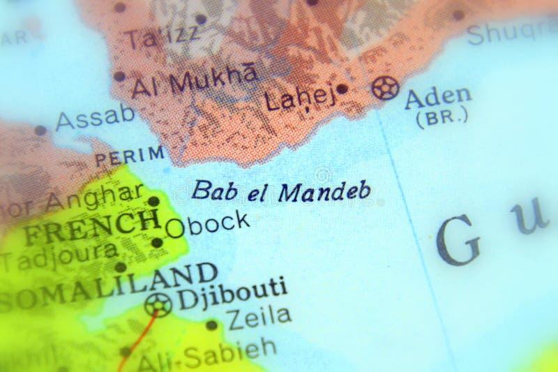 Lo stretto di Bab al-Mandab immagini stock