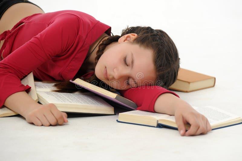 Lo studente è caduto addormentato fotografia stock libera da diritti