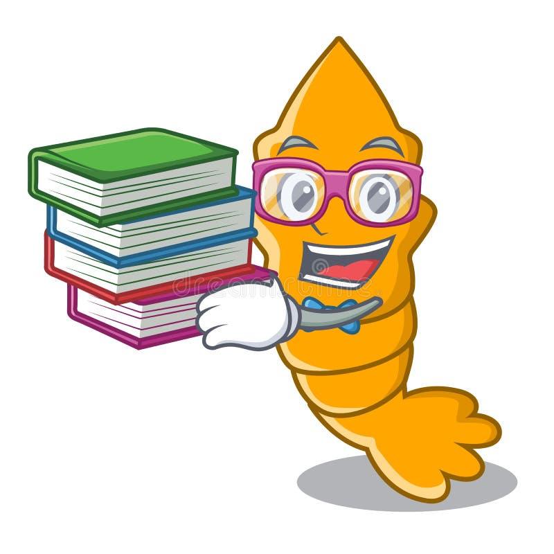 Lo studente con il libro ha cotto a vapore il gamberetto crudo fresco sul fumetto della mascotte royalty illustrazione gratis