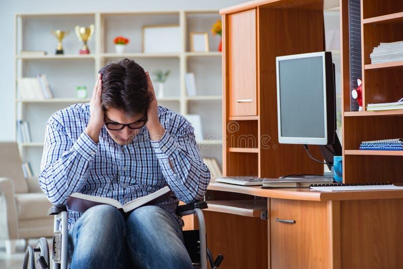 Lo studente disabile che studia a casa sulla sedia a rotelle fotografie stock