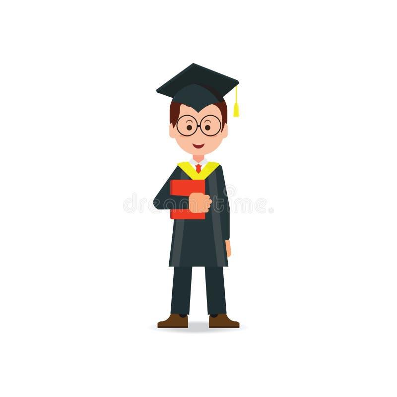 Lo studente felice si è laureato il cappello e l'abito d'uso del bordo del mortaio illustrazione vettoriale