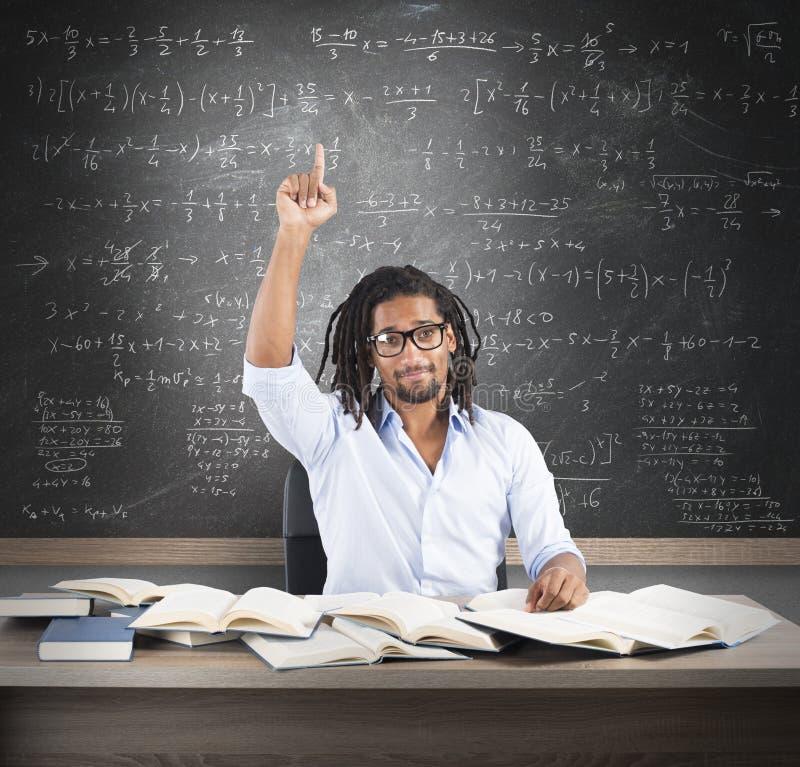 Lo studente ha la soluzione immagine stock