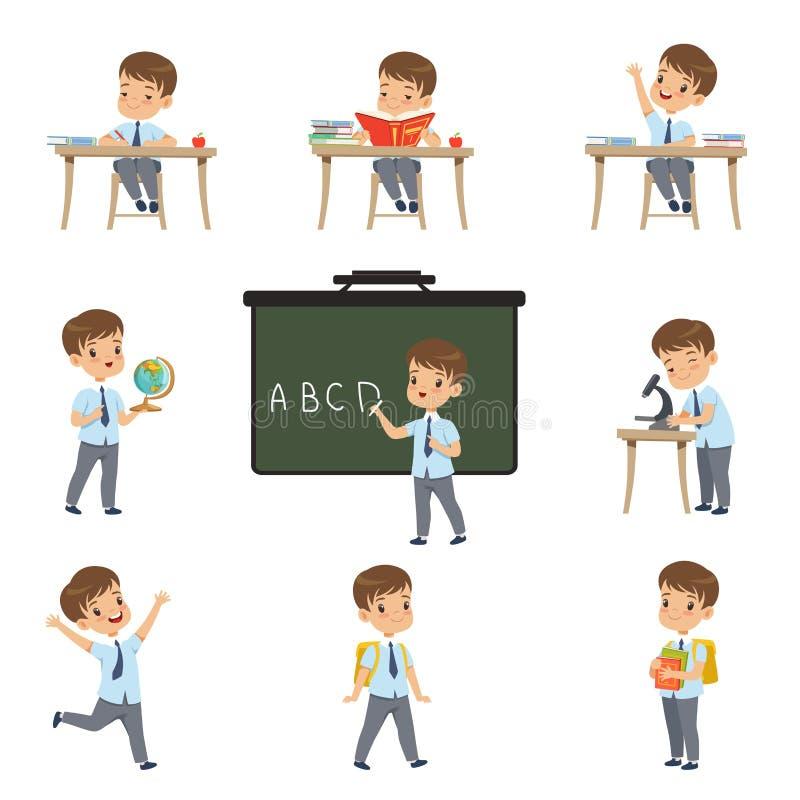 Lo studente sveglio dello scolaro in uniforme in varie attività ha messo, ragazzo alle lezioni di biologia, la geografia, vettore illustrazione vettoriale