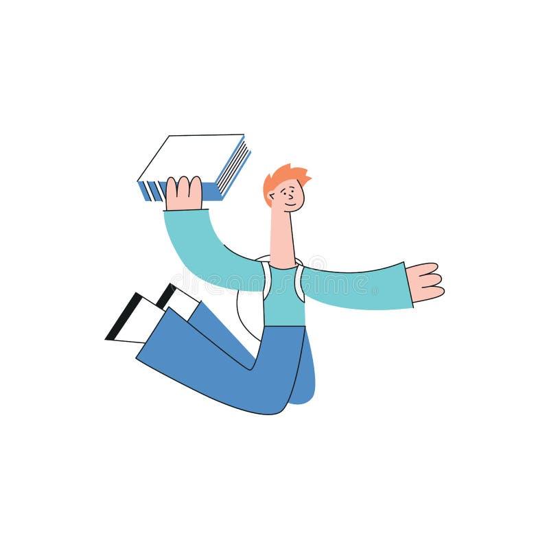 Lo studente teenager felice dell'uomo di vettore salta con il libro illustrazione di stock