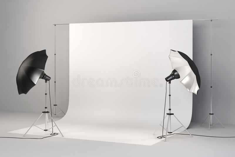 lo studio 3d ha installato con le luci ed il fondo bianco illustrazione di stock