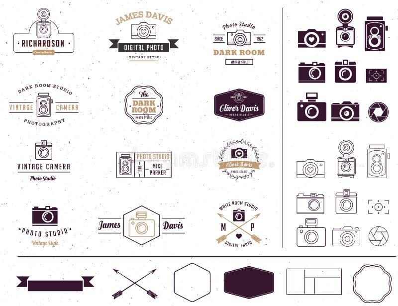 Lo studio della foto e del fotografo firma, elemento, icona illustrazione di stock