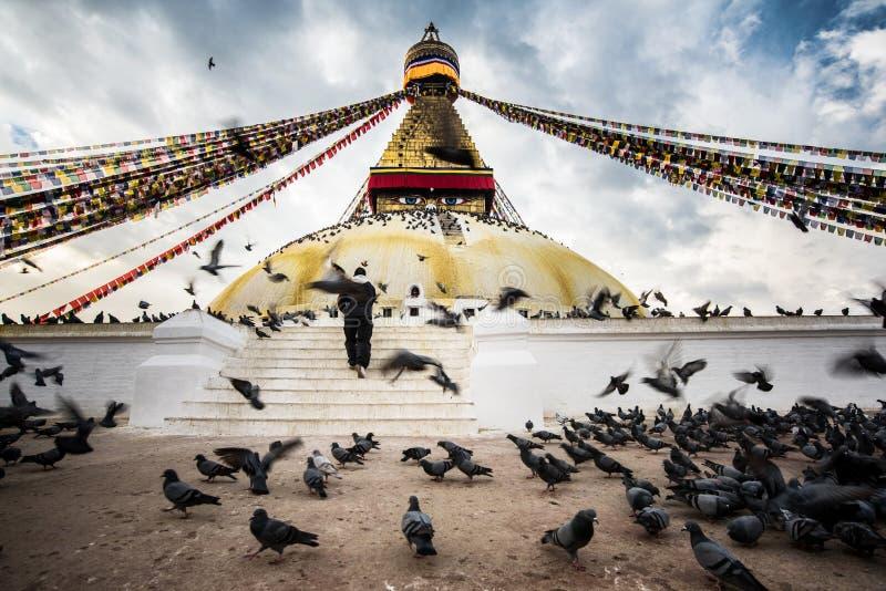 Lo stupa di Bodhnath con gli uccelli di volo e la gente sperano a cielo blu nella valle di Kathmandu, Nepal immagini stock