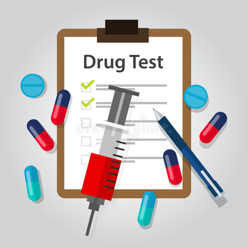Lo stupefacente di rapporto medico del documento della prova di droga e la rilevazione illegali di dipendenza risultano illustrazione vettoriale