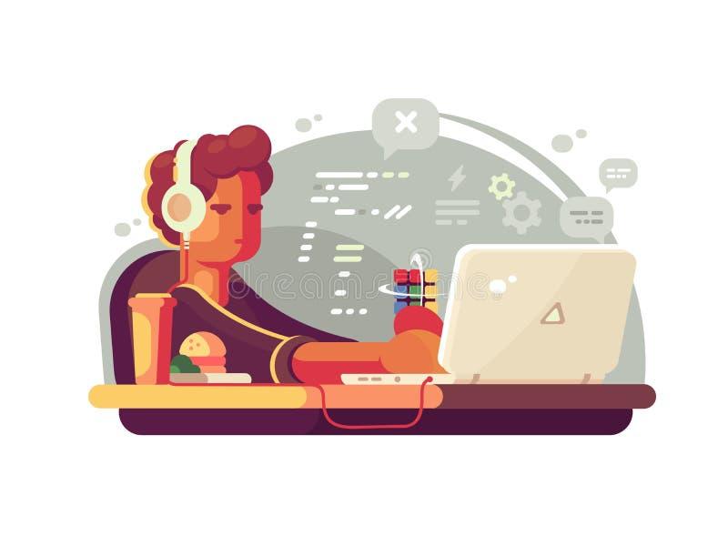 Lo sviluppatore web lavora al computer portatile illustrazione vettoriale