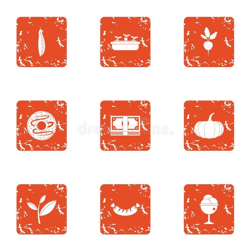 Lo sviluppo delle icone dell'agricoltore ha messo, stile di lerciume illustrazione vettoriale