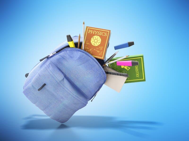Lo zaino blu con i rifornimenti di scuola 3d rende sul blu royalty illustrazione gratis