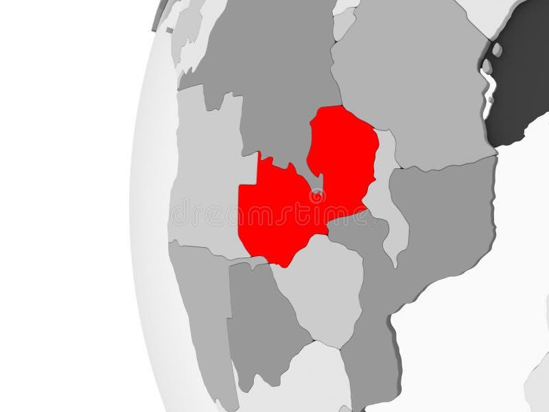 Lo Zambia sul globo grigio royalty illustrazione gratis