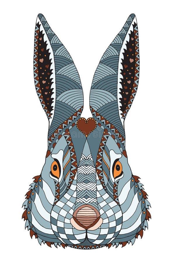 Lo zentangle capo del coniglio ha stilizzato con cuore sulla fronte, illustrazione, il modello, f illustrazione vettoriale