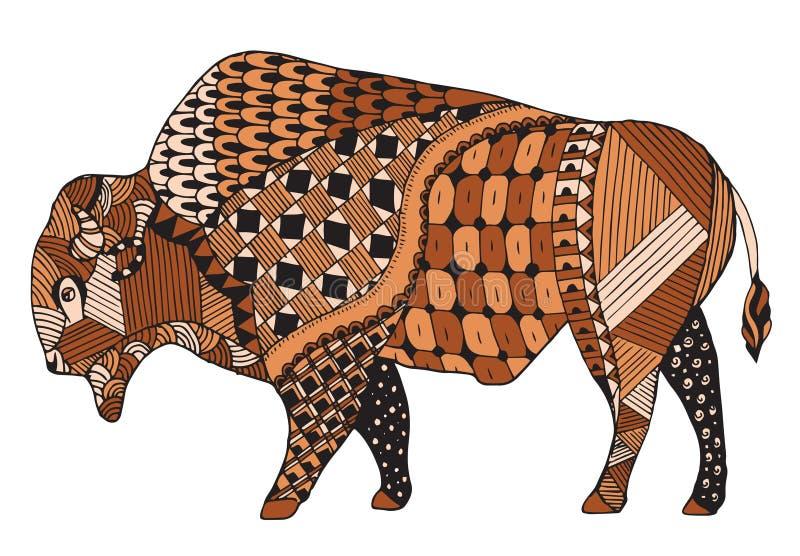 Lo zentangle del bisonte ha stilizzato, vector, illustrazione, matita a mano libera illustrazione vettoriale